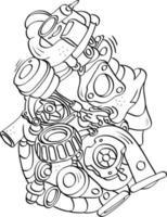 Automotorkomponenten Gekritzel Umriss Handschriftstil vektor