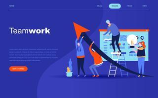 Modernt plattdesign koncept för Teamwork för webbplats