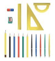 Satz von Schule stationäre Bleistiftspitzer Bleistifte Stifte Dreieck Lineal Winkelmesser Radiergummi isoliert auf weißem Hintergrund vektor