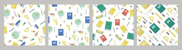 Satz von Mustern Schulbedarf und Büromaterial auf weißem Hintergrund zurück zu Schulbildung und Geschäftskonzept Vektor nahtlose Muster für Banner Poster Bürobedarf Laden und Tapeten