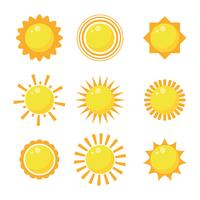Flaches Design Sun Clipart Set vektor