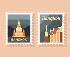 Bangkok frimärke vektor