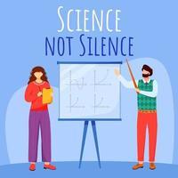 Wissenschaft bringt Social Media Post Mockup nicht zum Schweigen. Mathe Stunde. Professor und Student. Web-Banner-Design-Vorlage für Werbung. Social-Media-Booster. Werbeplakat, Printanzeigen mit flachen Illustrationen vektor