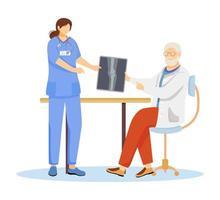 Orthopädie und Traumatologie flache Vektorgrafiken. Podologe mit Krankenschwester-Cartoon-Figur. Arzt, Arzt mit Röntgenbild. Knochenbruch, Behandlung von Gelenkerkrankungen. Traumatologe isoliert auf weiß vektor