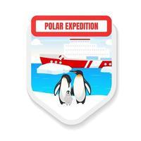Polarexpedition flaches Farbvektorabzeichen. Tierrettung. Pinguinbeobachtung. Bootsfahrt. tourim, reise. Grafikaufkleber zur Erforschung der Antarktis. Toursim isolierte Cartoon-Design-Element vektor