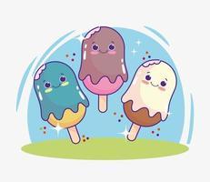 süßes Cartoon-Eis vektor