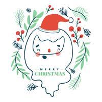 Nette Santa Claus, die mit Blättern herum lächelt. vektor