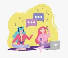 Mädchen hört Musik vektor