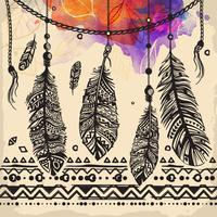 Tappning fjädrar etniska mönster, tribal design, tatuering vektor