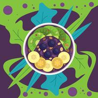 Acai Smoothie Bowl Top View Isolerad Vektor Illustration