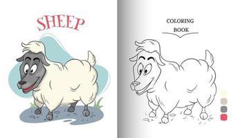 Tierfigur lustige Schafe im Cartoon-Stil Malbuchseite vektor