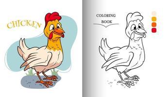 Tierfigur lustiges Huhn im Cartoon-Stil Malbuchseite vektor