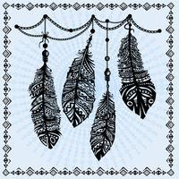 Weinlese versieht ethnisches Muster mit Federn, Stammes- Design, Tätowierung mit Federn vektor