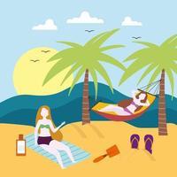 Frauen, die Strand ausruhen vektor