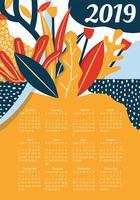 2019 druckbare Kalender-Vektor-Design