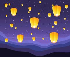 taiwan sky lantern illustration