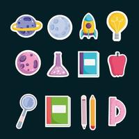 Set Schule Bildung Buch Bleistift Wissenschaft Apfel und Winkelmesser Symbole vektor