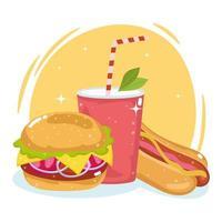 Essen Burger Soda vektor