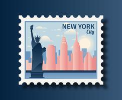 New York Porto Frimärken vektor