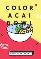 Färg Acai Bowl Vector Design