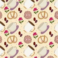 essen muster glücklich cartoon süße brezel kaffeetasse plätzchen vektor