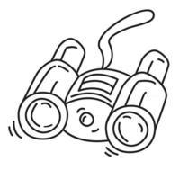 Wandern Abenteuer Fernglas, Ausflug, Reisen, Camping. handgezeichnetes Icon-Design, Umriss schwarz, Vektor-Symbol. vektor