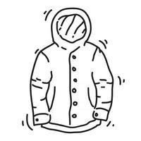 Wandern Abenteuerjacke, Reise, Reisen, Camping. handgezeichnetes Icon-Design, Umriss schwarz, Vektor-Symbol. vektor