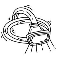 Wandern Abenteuerscheinwerfer, Reise, Reisen, Camping. handgezeichnetes Icon-Design, Umriss schwarz, Doodle-Symbol, Vektor