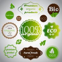Satz organische und Bauernhoffrische foodstickers vektor