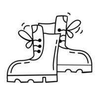 Wanderabenteuerstiefel, Reise, Reisen, Camping. handgezeichnetes Icon-Design, Umriss schwarz, Vektor-Symbol. vektor