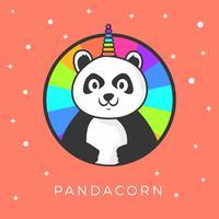 Platt Söt Panda Unicorn Wannabe Vektor Clipart Illustration