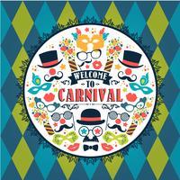 Festliche Illustration der Feier mit Karnevalsikonen und -gegenständen