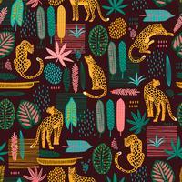 Vestor nahtloses Muster mit Leoparden und abstrakten tropischen Blättern.