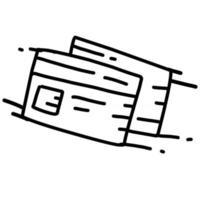 Visitenkarte handgezeichnetes Icon-Design, Umriss schwarz, Vektor-Symbol. vektor