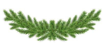 Weihnachten und Neujahr realistische Girlande aus Tannenzweigen. Vektor-Illustration vektor
