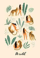 Vara vild. Vektor illustrationer av kvinna med leopard och tropiska blad.