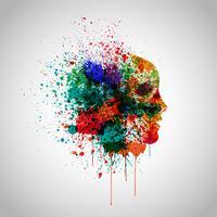 Färgglatt ansikte gjord av spilld färg, vektor illustration