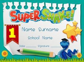 Diplom- oder Zertifikatsvorlage für Schulkinder mit Superschlangen-Cartoon-Figur vektor