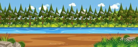 Panoramalandschaftsszene mit Fluss durch den Wald vektor