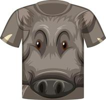 framsidan av t-shirt med ansiktet på vildsvin mönster vektor
