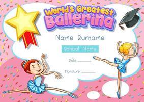 Zertifikatvorlage für die größte Ballerina der Welt vektor