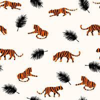 Seamless exotiskt mönster med abstrakta silhuetter av tigrar. vektor