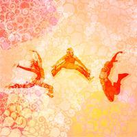 Leute tanzen und springen