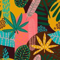 Stammes- nahtloses Muster mit abstrakten Blättern.