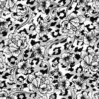 Eklektiskt tyg sömlöst mönster. Djur bakgrund med barock prydnad. vektor