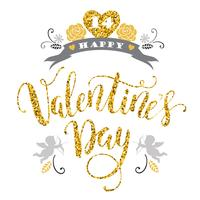 Glad alla hjärtans dag. Handritad bokstäverdesign med glitterstruktur.