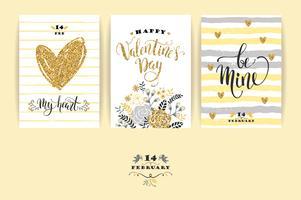 Set glückliche Valentinstagkarten.
