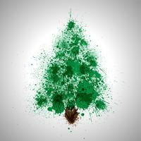 Jul vektor träd gjord av spilld färgstänk
