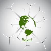 Vektorillustration der grünen Erde und des Windkraftanlagekonzeptes eps10