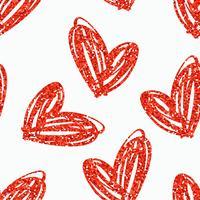Vektor sömlöst mönster med handgjorda glitter hjärtan.